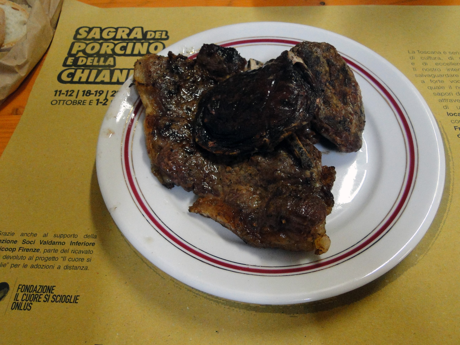 Grilled beef steak with porcini mushrooms