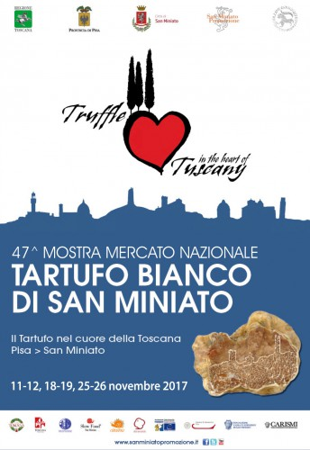 Locandina della Mostra Mercato del Tartufo Bianco a San Miniato, edizione 2017