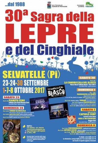 Locandina della Sagra della Lepre e del Cinghiale a Selvatelle, edizione 2017