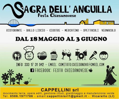 Locandina della Festa Chiesanovese e Sagra dell'Anguilla a Santo Stefano a Macerata