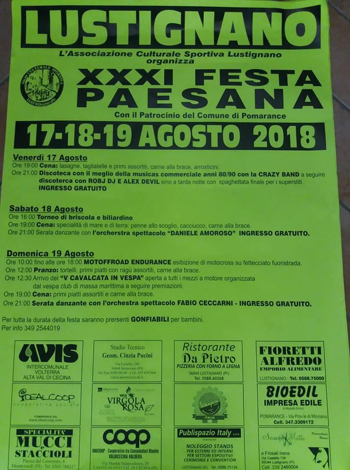Locandina della Festa Paesana a Lustignano