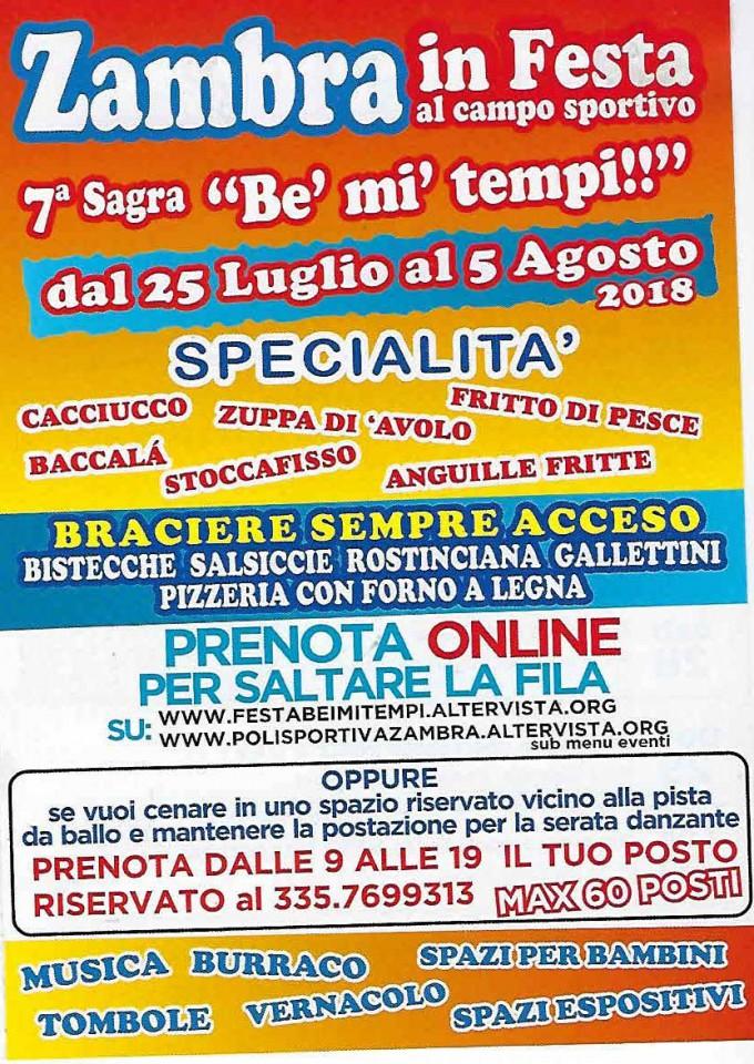 """Locandina della Sagra """"Bè Mi Tempi"""" a Zambra"""