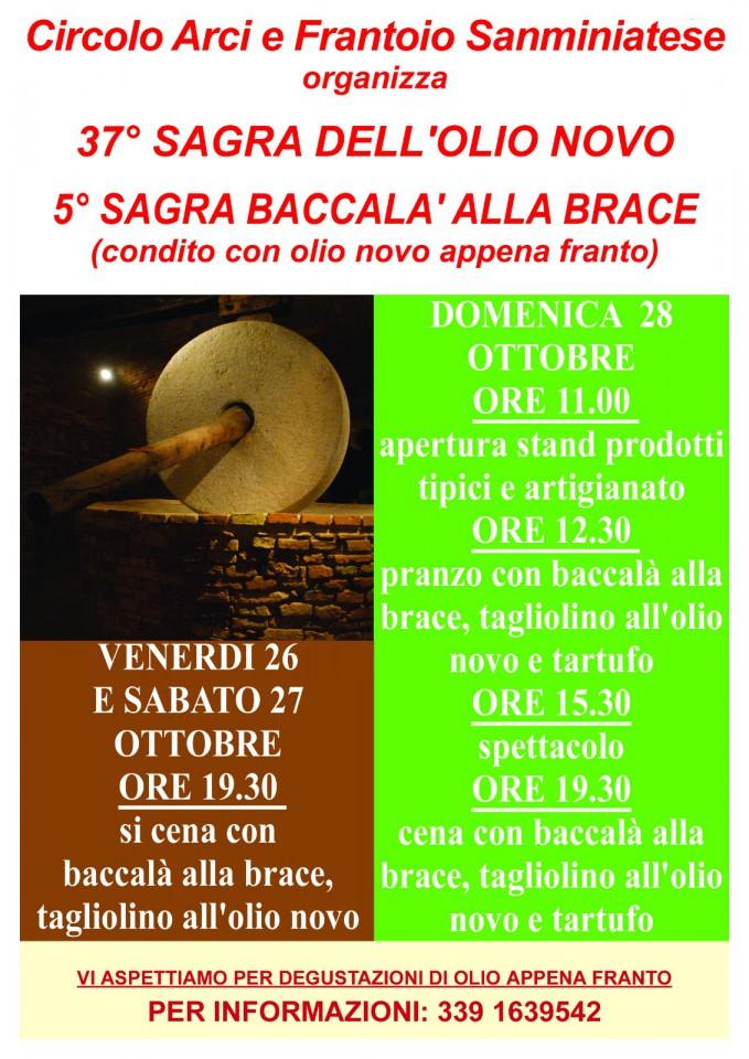 Locandina della Sagra dell'Olio novo e del Baccalà alla brace a La Serra