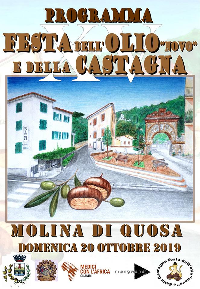 Locandina della Festa dell'Olio Novo e della Castagna a Molina di Quosa