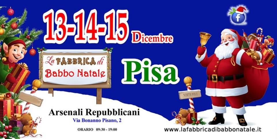 Locandina della Fabbrica di Babbo Natale a Pisa
