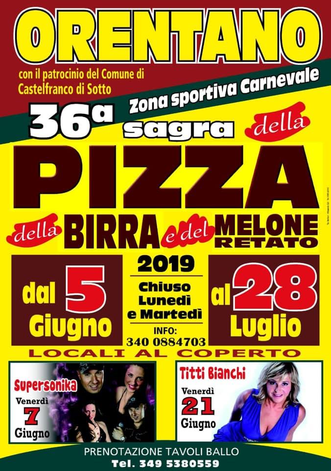 Locandina della Sagra della Pizza, della Birra e del Melone retatoa Orentano