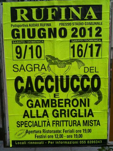 Locandina della Sagra del Cacciucco di Rufina, edizione del 2012